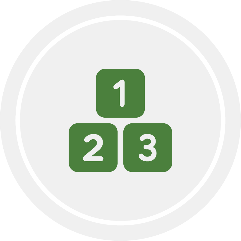 Count, Group, and Compare icon in gray circle