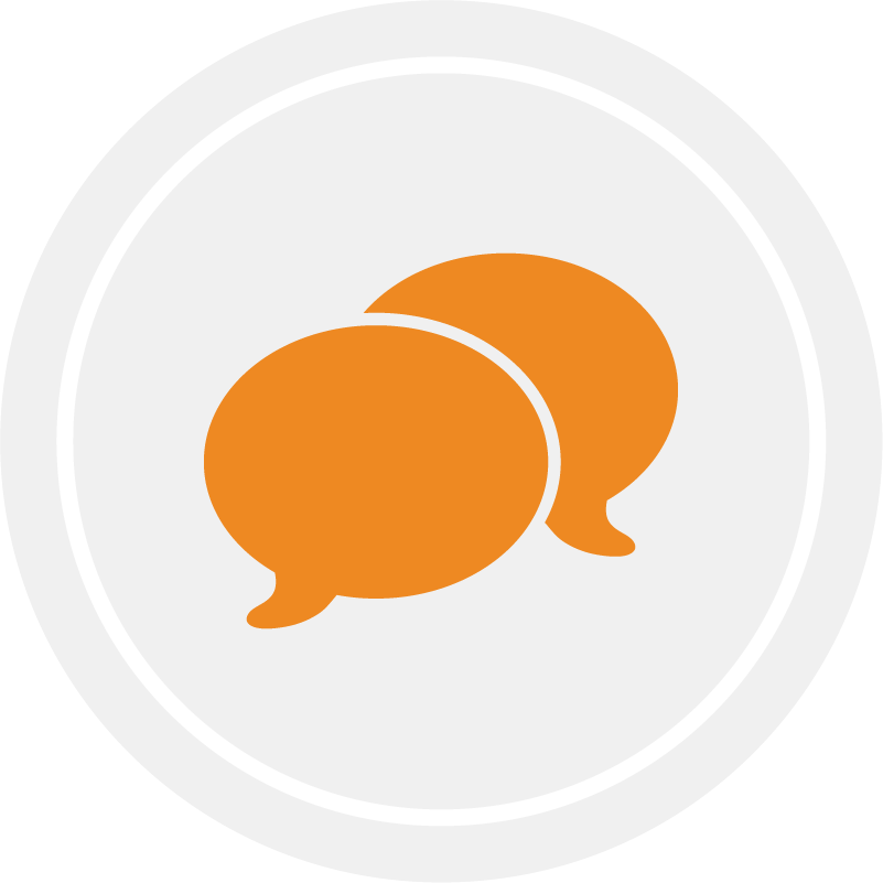 Talk, Sing, and Point icon on gray circle